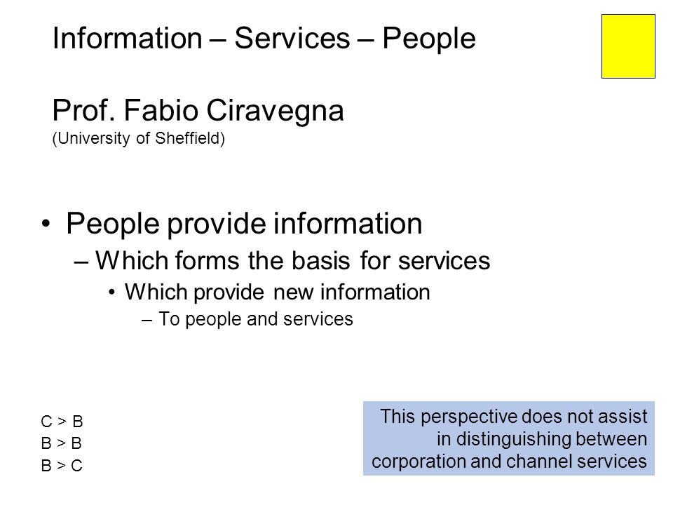 Information – Services – People Prof. Fabio Ciravegna (University of Sheffield) People provide information –Which forms the basis for services Which p