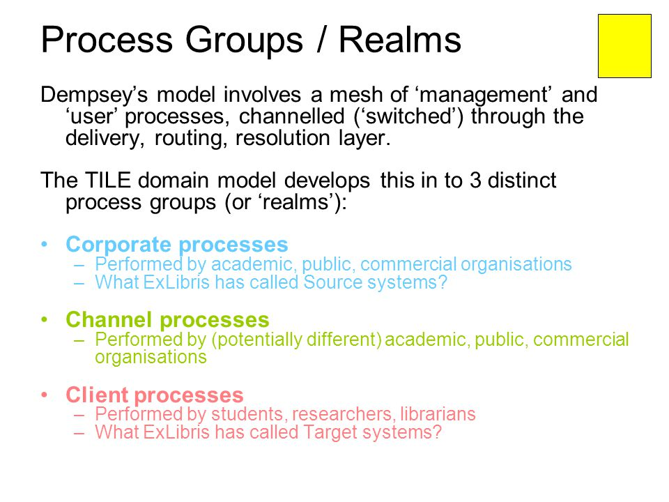 Process Groups / Realms Dempseys model involves a mesh of management and user processes, channelled (switched) through the delivery, routing, resoluti