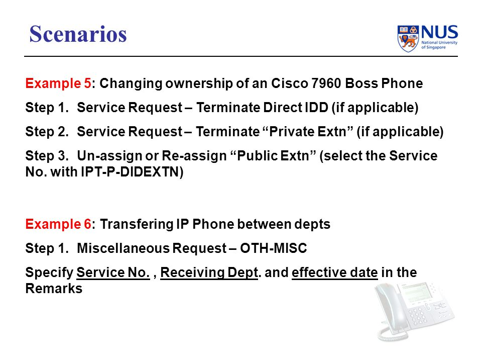 Example 5: Changing ownership of an Cisco 7960 Boss Phone Step 1.