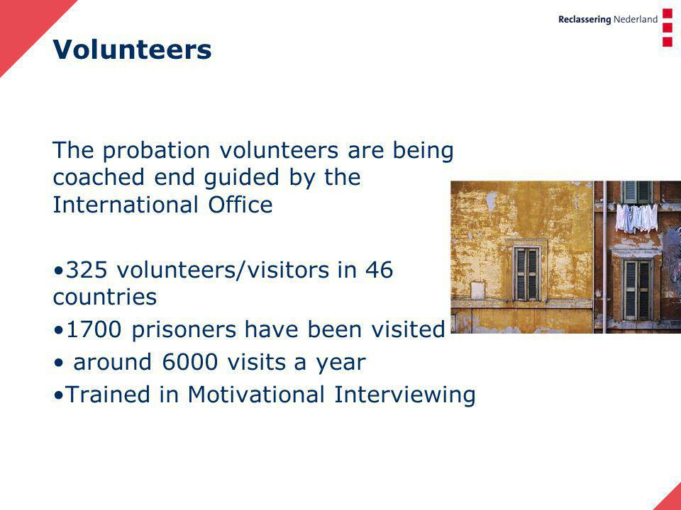 Volunteers The probation volunteers are being coached end guided by the International Office 325 volunteers/visitors in 46 countries 1700 prisoners have been visited around 6000 visits a year Trained in Motivational Interviewing
