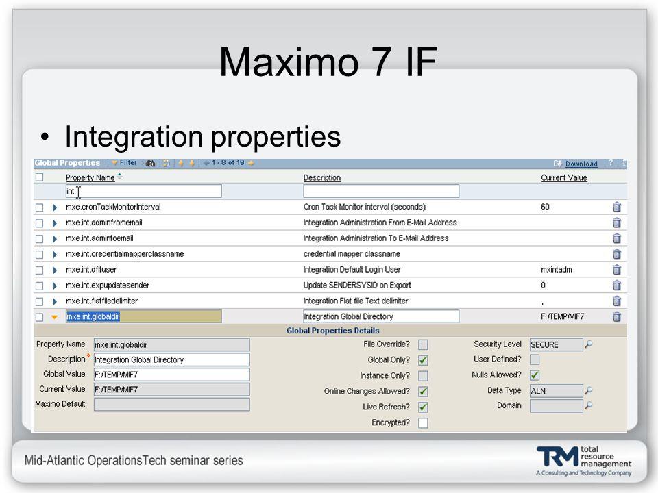Maximo 7 IF Integration properties