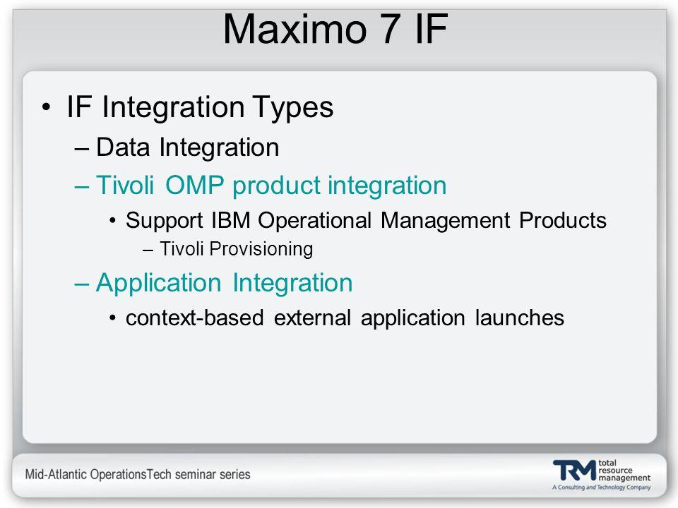 Maximo 7 IF IF Integration Types –Data Integration –Tivoli OMP product integration Support IBM Operational Management Products –Tivoli Provisioning –A