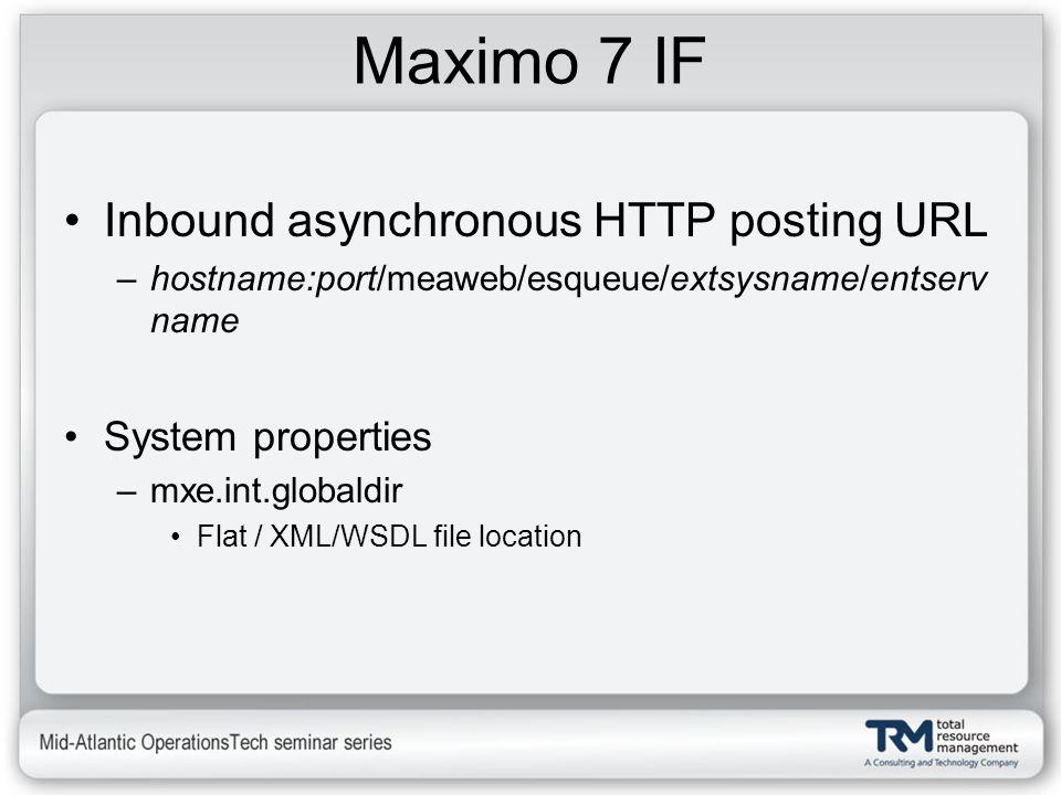 Maximo 7 IF Inbound asynchronous HTTP posting URL –hostname:port/meaweb/esqueue/extsysname/entserv name System properties –mxe.int.globaldir Flat / XM