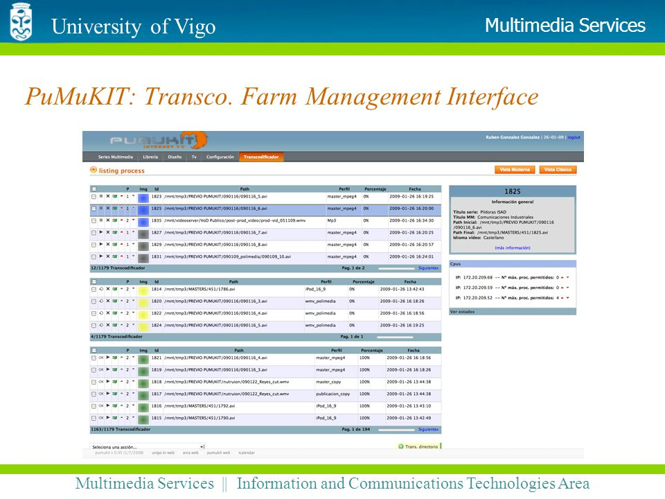 University of Vigo Multimedia Services || Information and Communications Technologies Area Multimedia Services PuMuKIT: Transco. Farm Management Inter