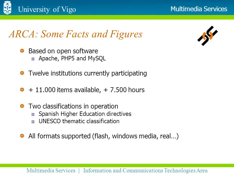 University of Vigo Multimedia Services || Information and Communications Technologies Area Multimedia Services ARCA: Some Facts and Figures Based on o