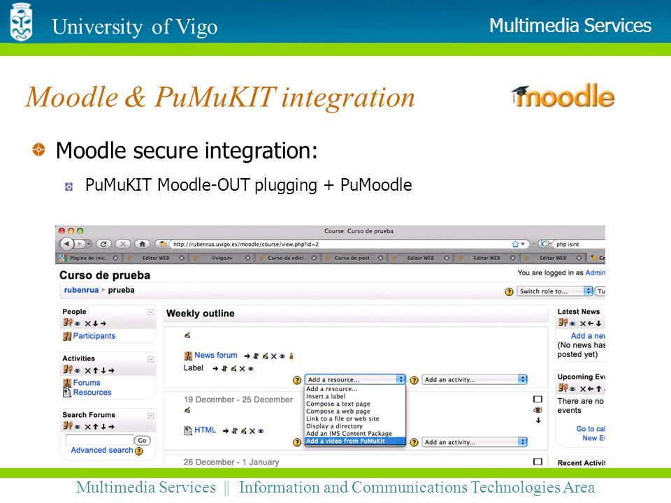 University of Vigo Multimedia Services || Information and Communications Technologies Area Multimedia Services Moodle & PuMuKIT integration Moodle sec