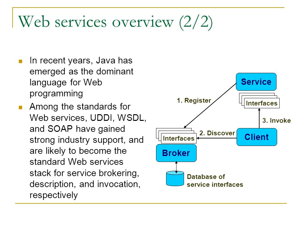 Web services overview (2/2) In recent years, Java has emerged as the dominant language for Web programming Among the standards for Web services, UDDI, WSDL, and SOAP have gained strong industry support, and are likely to become the standard Web services stack for service brokering, description, and invocation, respectively Service Broker Client 1.