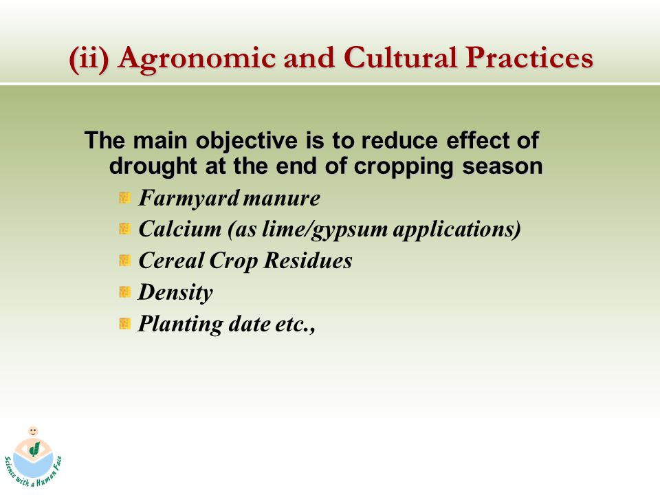 The main objective is to reduce effect of drought at the end of cropping season Farmyard manure Calcium (as lime/gypsum applications) Cereal Crop Residues Density Planting date etc., (ii) Agronomic and Cultural Practices