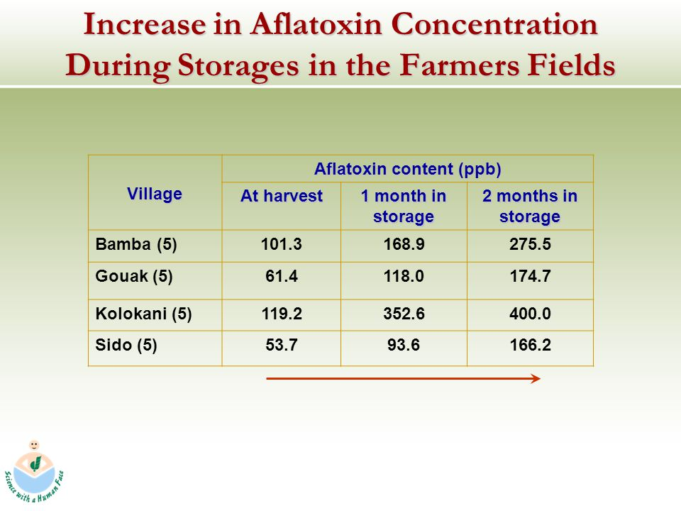 Increase in Aflatoxin Concentration During Storages in the Farmers Fields Village Aflatoxin content (ppb) At harvest 1 month in storage 2 months in storage Bamba (5)101.3168.9275.5 Gouak (5)61.4118.0174.7 Kolokani (5)119.2352.6400.0 Sido (5)53.793.6166.2