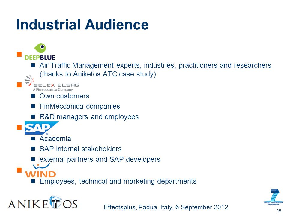 Effectsplus, Padua, Italy, 6 September 2012 Industrial Audience Air Traffic Management experts, industries, practitioners and researchers (thanks to Aniketos ATC case study) Own customers FinMeccanica companies R&D managers and employees Academia SAP internal stakeholders external partners and SAP developers Employees, technical and marketing departments 18
