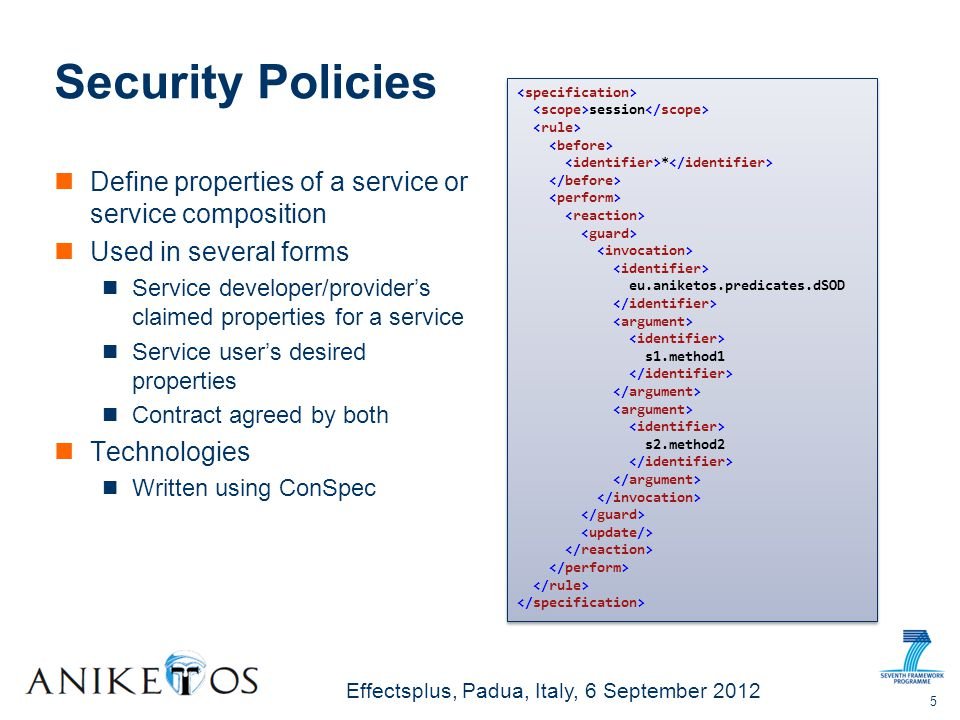 Effectsplus, Padua, Italy, 6 September 2012 Security Policies Define properties of a service or service composition Used in several forms Service developer/providers claimed properties for a service Service users desired properties Contract agreed by both Technologies Written using ConSpec 5 session * eu.aniketos.predicates.dSOD s1.method1 s2.method2 session * eu.aniketos.predicates.dSOD s1.method1 s2.method2