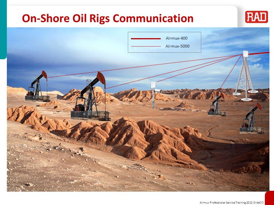 Airmux Professional Service Training 2013 Slide 30 On-Shore Oil Rigs Communication Airmux-400 Airmux-5000