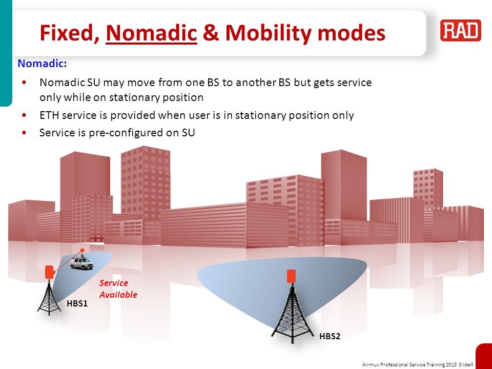 Airmux Professional Service Training 2013 Slide 4 Fixed, Nomadic & Mobility modes HBS1 HBS2 Service Available Nomadic: Nomadic SU may move from one BS