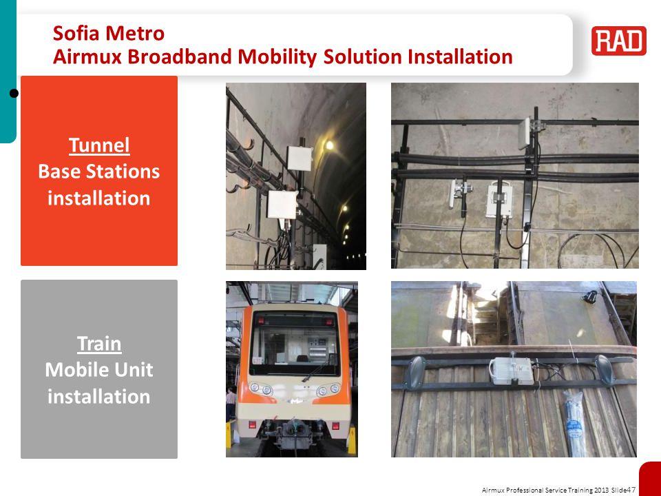 Airmux Professional Service Training 2013 Slide 47 Sofia Metro Airmux Broadband Mobility Solution Installation Tunnel Base Stations installation Train