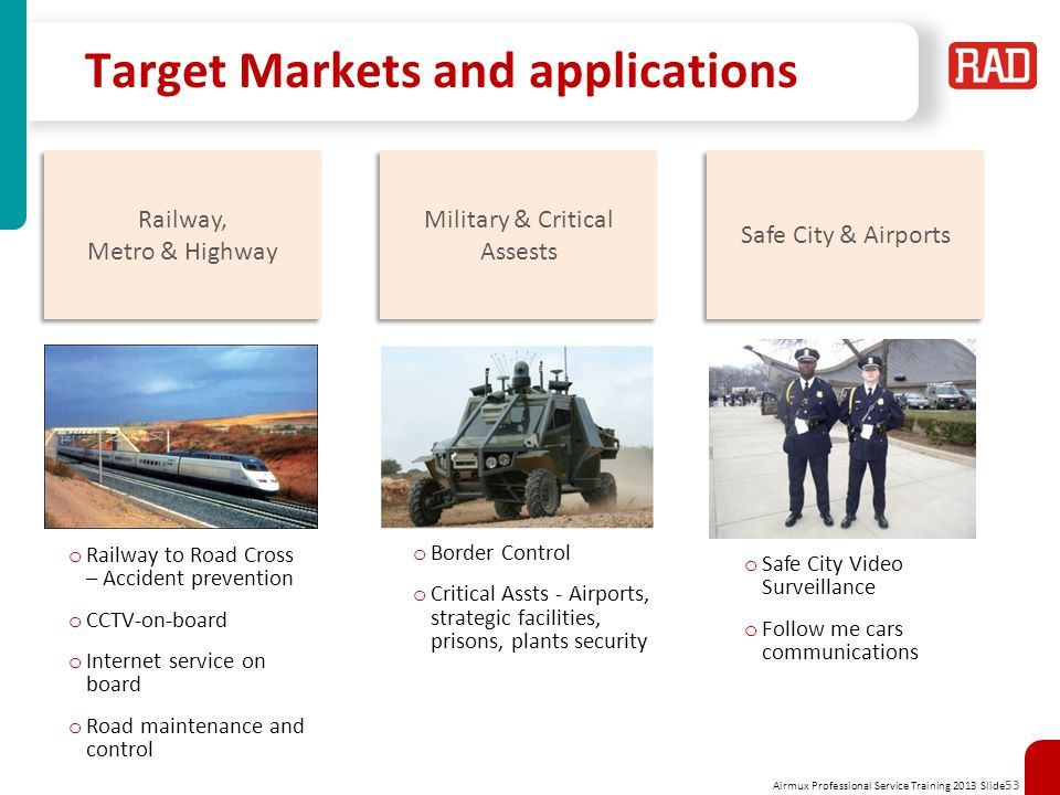 Airmux Professional Service Training 2013 Slide 53 Target Markets and applications Railway, Metro & Highway Railway, Metro & Highway o Railway to Road