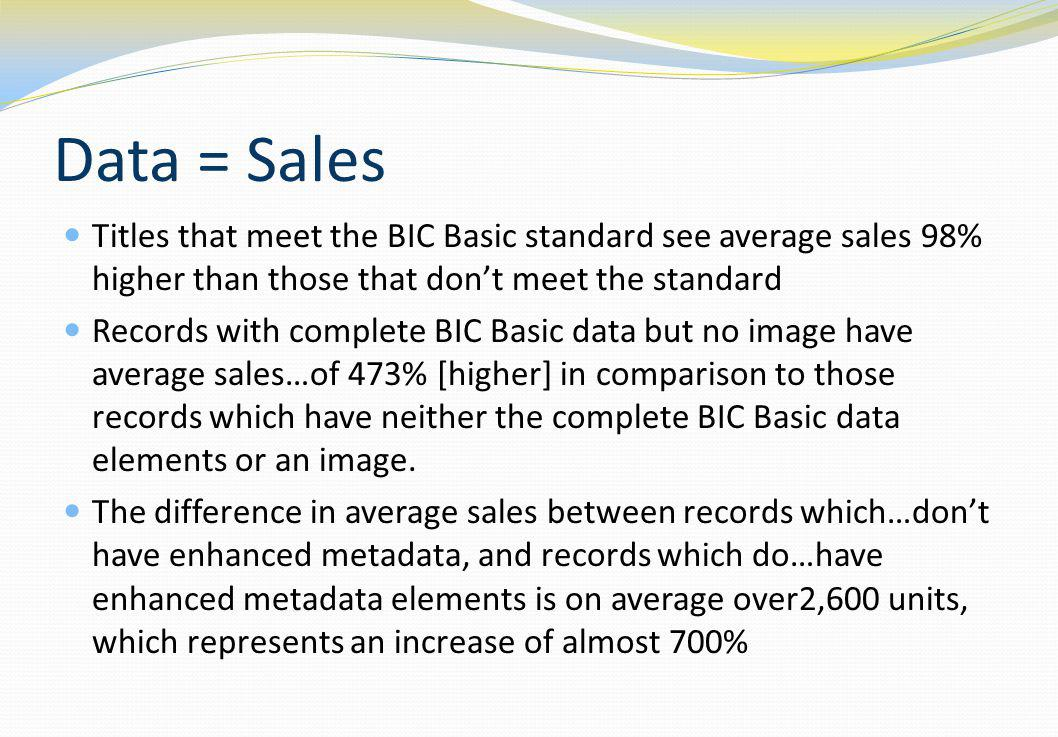 Data = Sales Titles that meet the BIC Basic standard see average sales 98% higher than those that dont meet the standard Records with complete BIC Bas