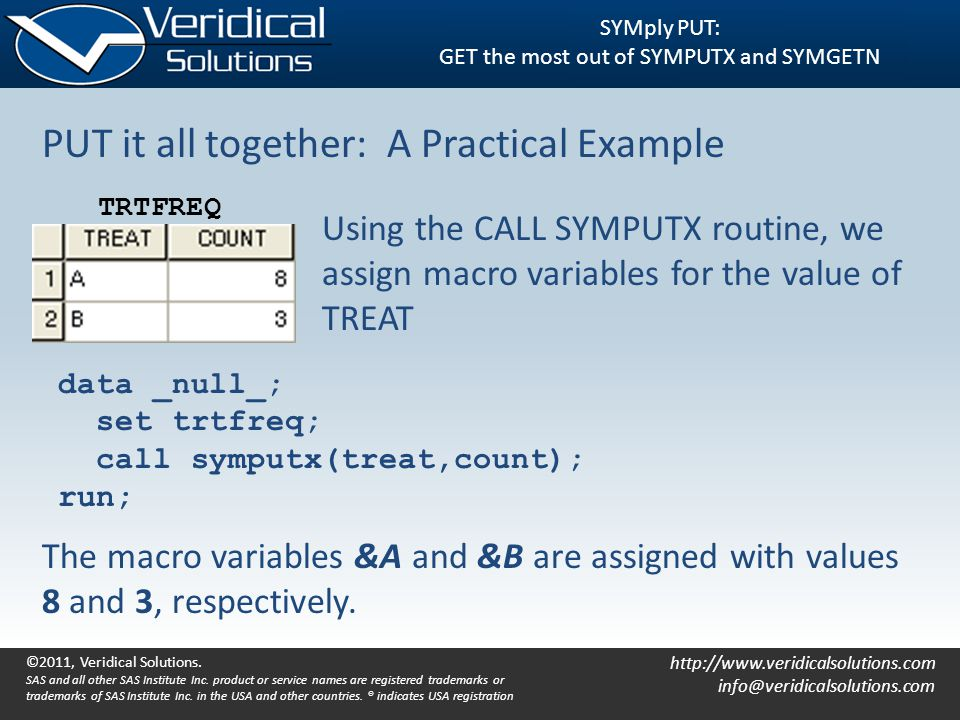 http://www.veridicalsolutions.com info@veridicalsolutions.com SYMply PUT: GET the most out of SYMPUTX and SYMGETN PUT it all together: A Practical Exa
