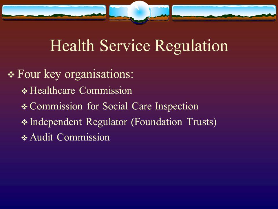 Health Service Regulation Four key organisations: Healthcare Commission Commission for Social Care Inspection Independent Regulator (Foundation Trusts) Audit Commission