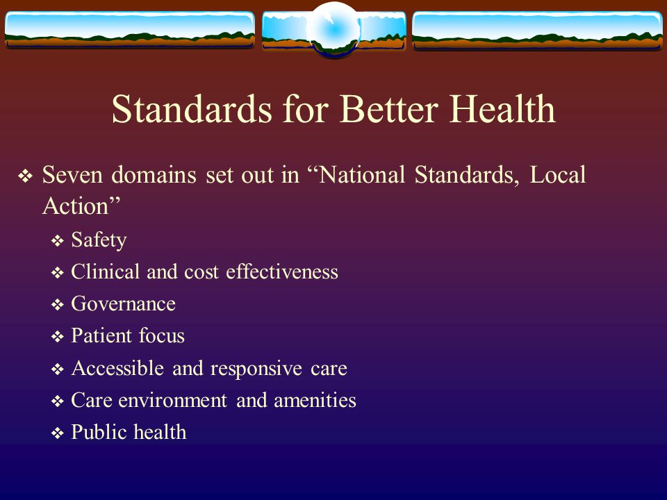 Standards for Better Health Seven domains set out in National Standards, Local Action Safety Clinical and cost effectiveness Governance Patient focus Accessible and responsive care Care environment and amenities Public health