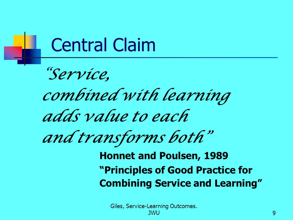 Giles, Service-Learning Outcomes. JWU10 What is Academic Learning? Fact Acquisition