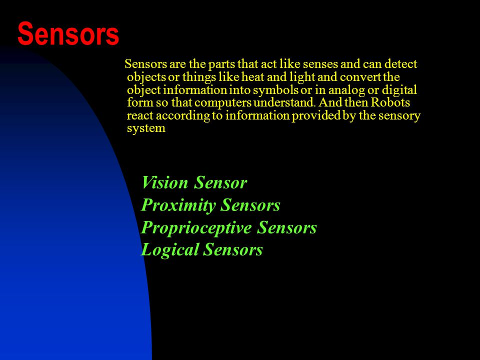Vision Sensor Camera Frame grabber Image processing unit Proximity sensors