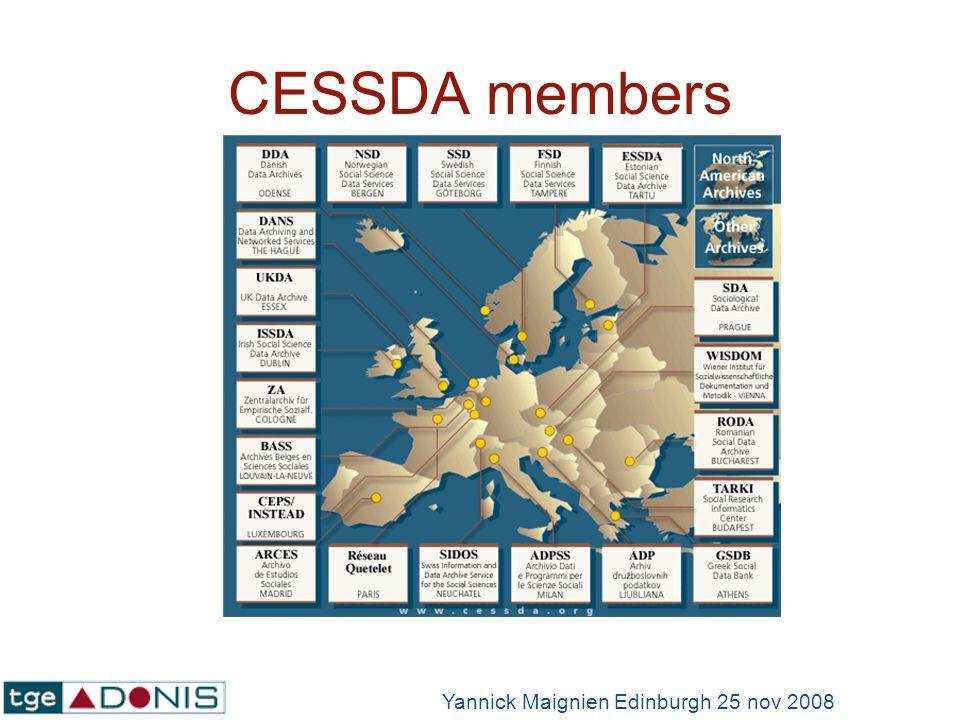 CESSDA members Yannick Maignien Edinburgh 25 nov 2008