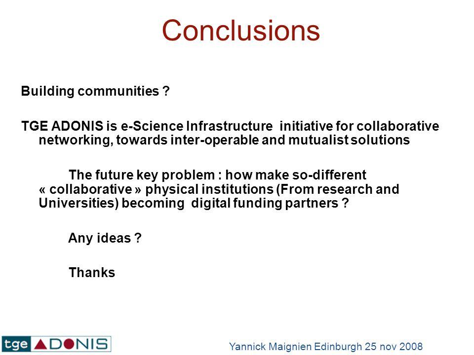 Conclusions Building communities .
