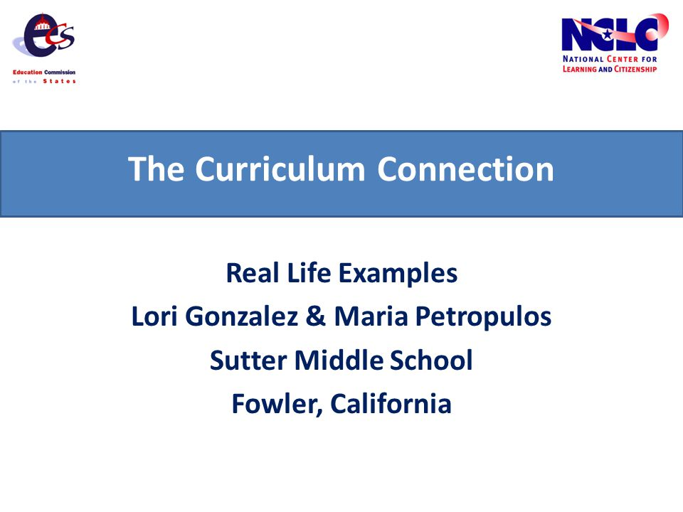 The Curriculum Connection Real Life Examples Lori Gonzalez & Maria Petropulos Sutter Middle School Fowler, California