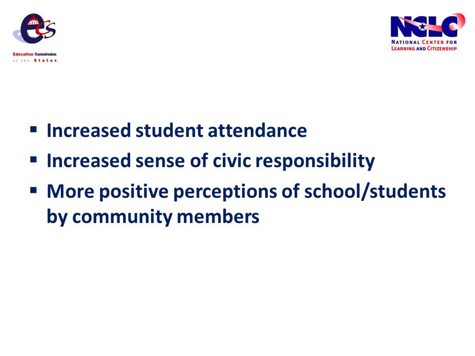 Increased student attendance Increased sense of civic responsibility More positive perceptions of school/students by community members