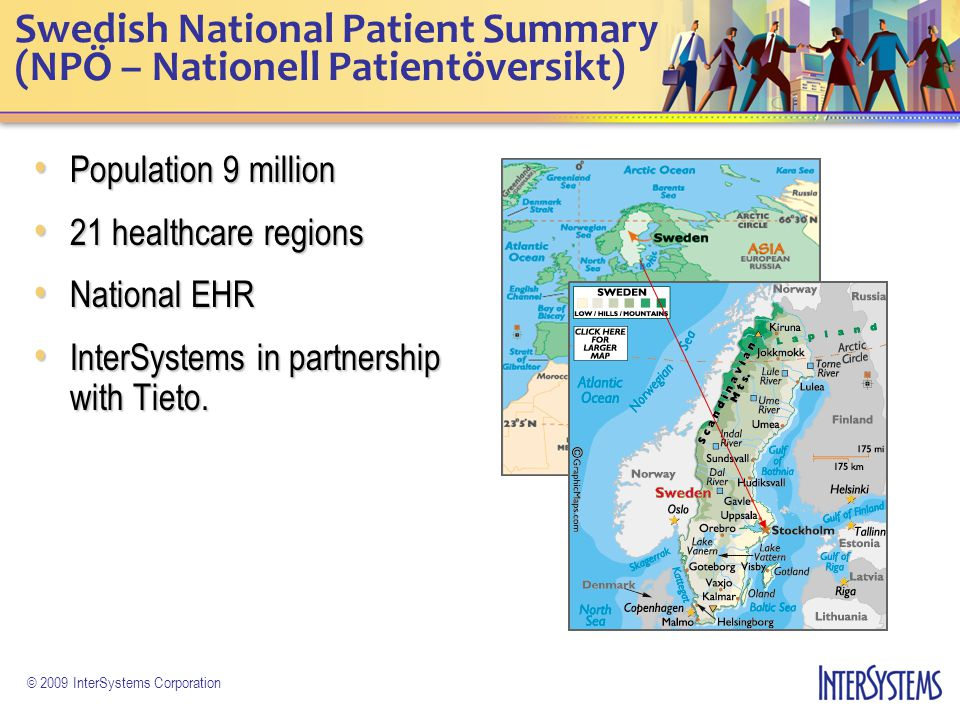 © 2009 InterSystems Corporation Swedish National Patient Summary (NPÖ – Nationell Patientöversikt) Population 9 million Population 9 million 21 health