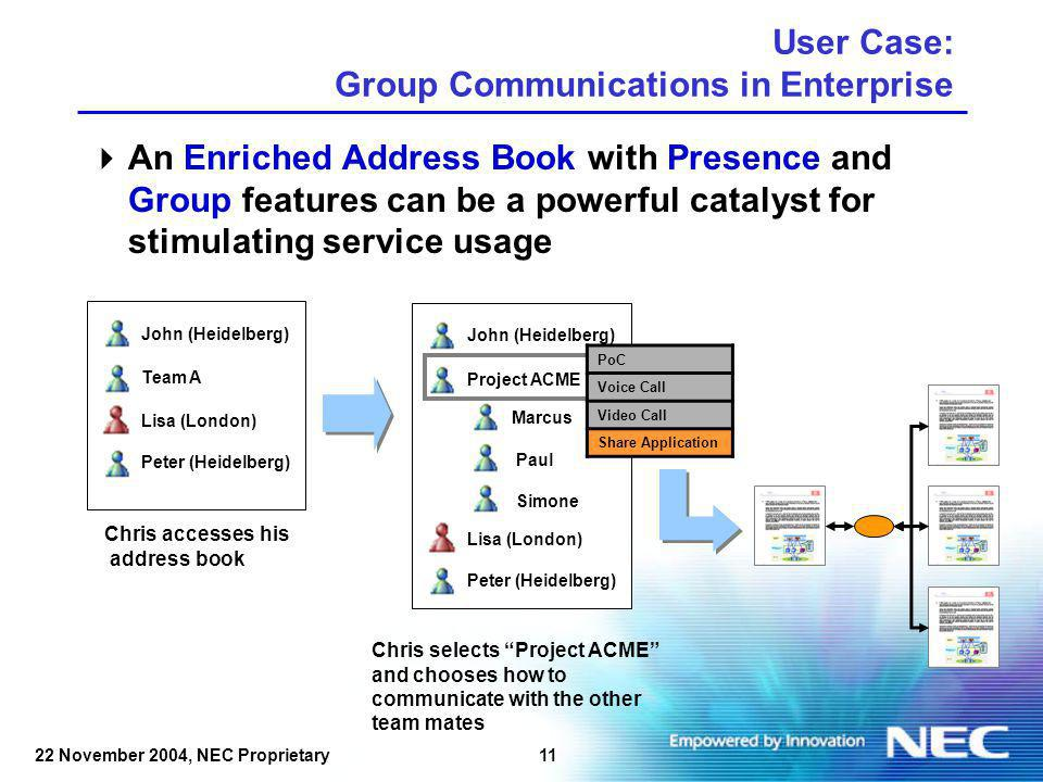 1222 November 2004, NEC Proprietary User Case: Group Communications in Enterprise 1.PoC session 2.Application sharing 3.PoC evolves in conference call Marcus Simone Paul Chris UMTS