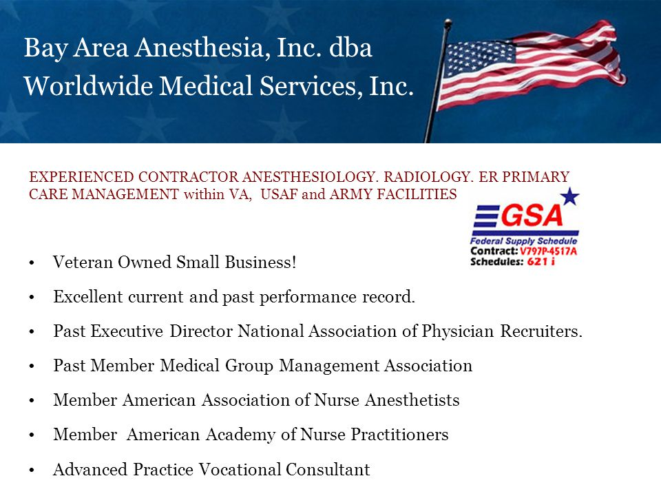 Bay Area Anesthesia, Inc.dba Worldwide Medical Services, Inc.