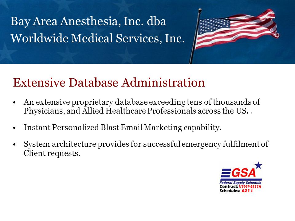 An extensive proprietary database exceeding tens of thousands of Physicians, and Allied Healthcare Professionals across the US..