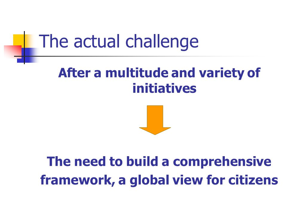 The actual challenge After a multitude and variety of initiatives The need to build a comprehensive framework, a global view for citizens
