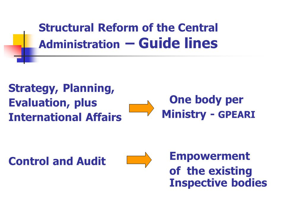 Structural Reform of the Central Administration – Guide lines Management Resources (budget, financial and cost accounting, HR, legal aid, car fleet, acquisition goods and services, archives, information and communication systems, etc…) Empowerment of the existing common structure in each Ministry – SG Organization of partnership services Outsourcing