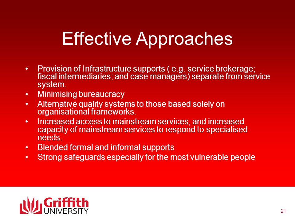 21 Effective Approaches Provision of Infrastructure supports ( e.g.