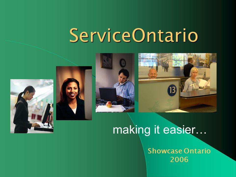 making it easier… ServiceOntario Showcase Ontario 2006