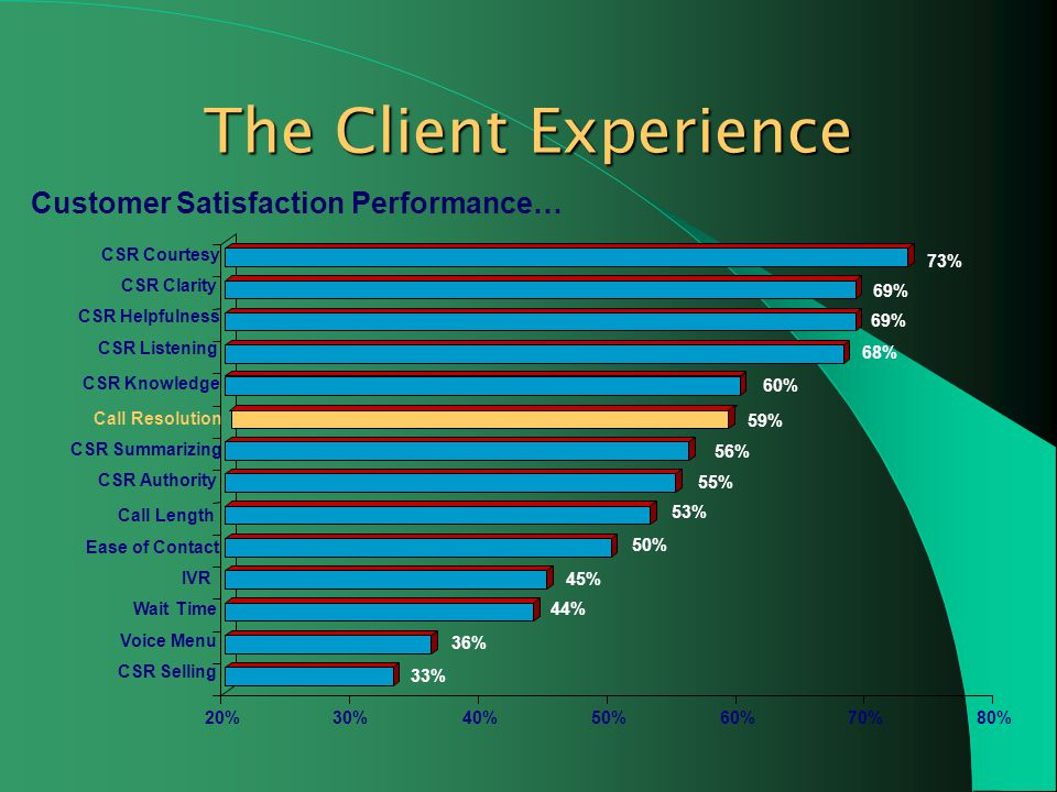 The Client Experience Customer Satisfaction Performance…