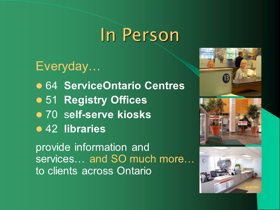 Everyday… 64 ServiceOntario Centres 51 Registry Offices 70 self-serve kiosks 42 libraries provide information and services… and SO much more… to clients across Ontario In Person