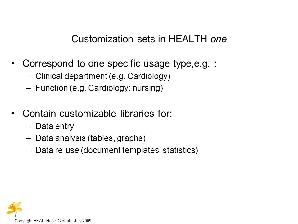 Copyright HEALTHone Global – July 2009 Customization sets in HEALTH one Correspond to one specific usage type,e.g.