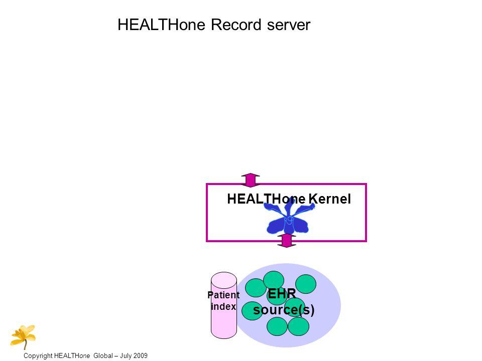 Copyright HEALTHone Global – July 2009 HEALTHone Record server HEALTHone Kernel EHR source(s) Terminology service DXMDXM Patient index Data exchange manager