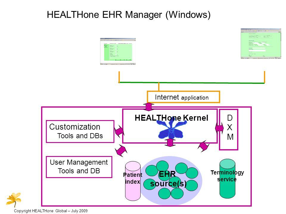 Copyright HEALTHone Global – July 2009 HEALTHone EHR Manager (Windows & Internet) Internet application Windows application User Management Tools and DB Customization Tools and DBs HEALTHone Kernel and FAF EHR source(s) Terminology service DXMDXM Patient index HEALTHone EHR server