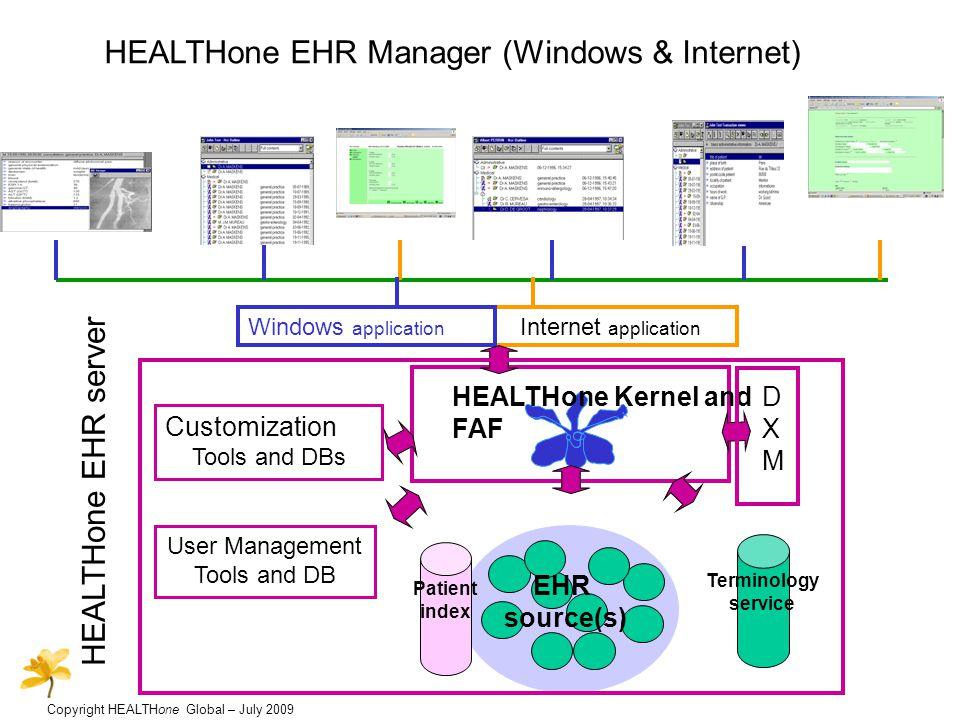 Copyright HEALTHone Global – July 2009 Data integration using the HEALTHone Data Exchange Manager Admin, Pathology data (HL7, CEN,..) Radiology data (Dicom,..) Structured documents (e.g.