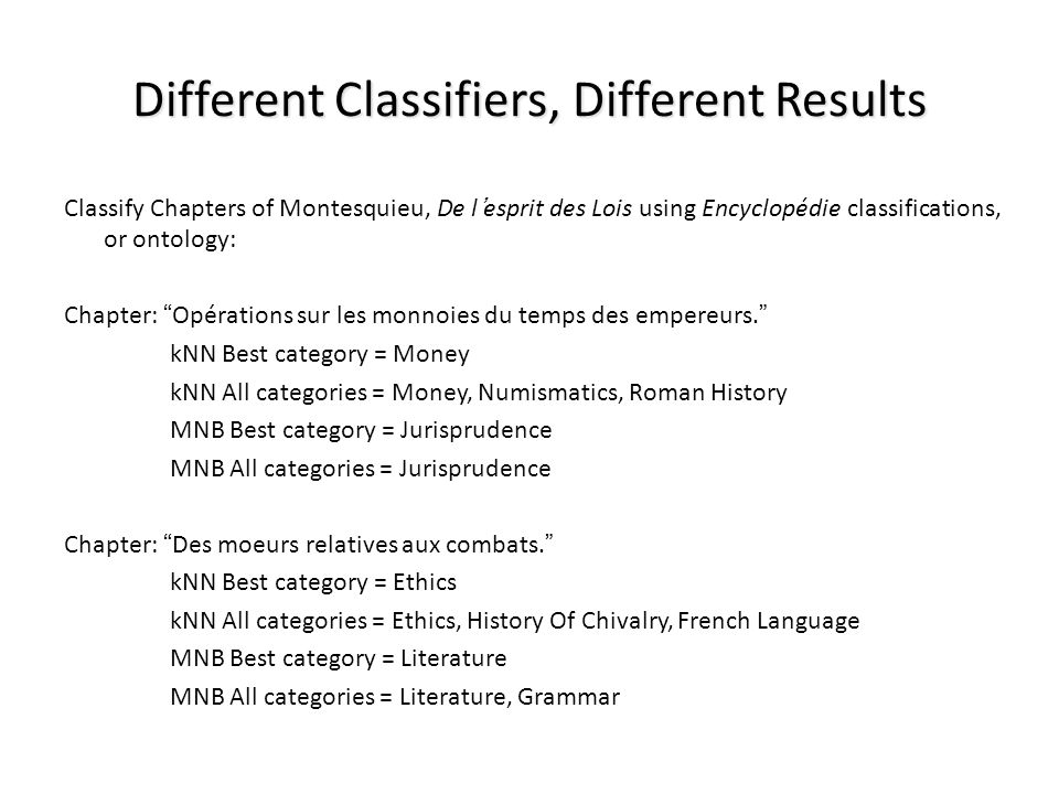 Different Classifiers, Different Results Classify Chapters of Montesquieu, De lesprit des Lois using Encyclopédie classifications, or ontology: Chapte
