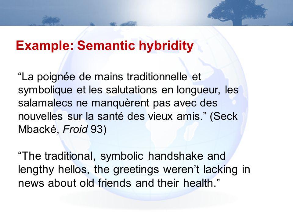 Example: Semantic hybridity La poignée de mains traditionnelle et symbolique et les salutations en longueur, les salamalecs ne manquèrent pas avec des nouvelles sur la santé des vieux amis.