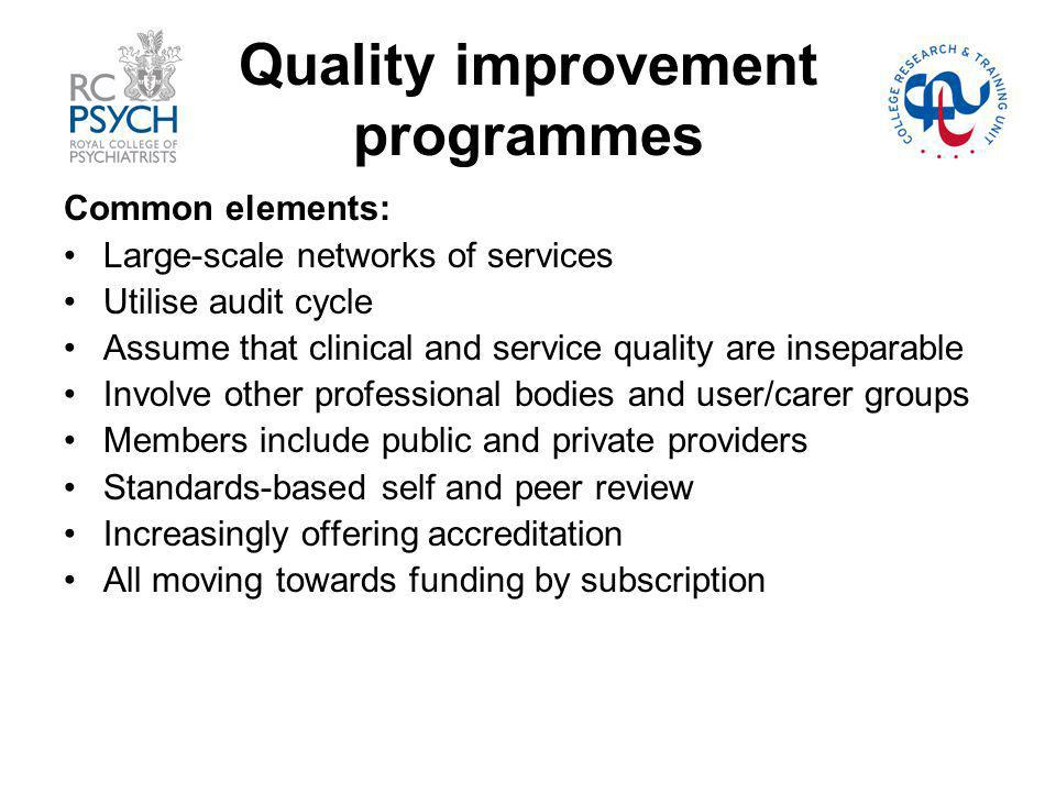 Quality improvement programmes Common elements: Large-scale networks of services Utilise audit cycle Assume that clinical and service quality are inseparable Involve other professional bodies and user/carer groups Members include public and private providers Standards-based self and peer review Increasingly offering accreditation All moving towards funding by subscription