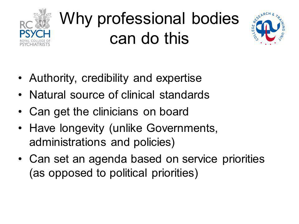 Why professional bodies can do this Authority, credibility and expertise Natural source of clinical standards Can get the clinicians on board Have longevity (unlike Governments, administrations and policies) Can set an agenda based on service priorities (as opposed to political priorities)