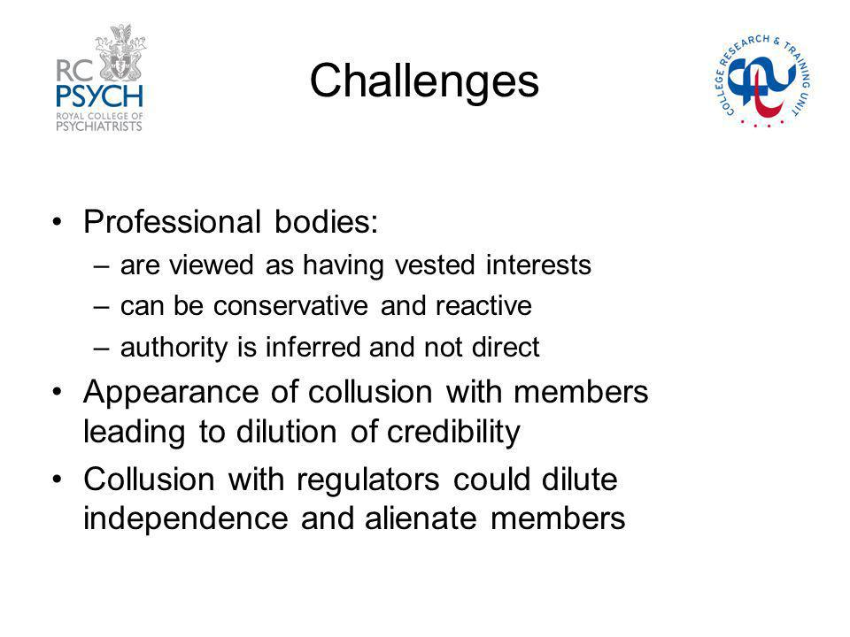 Challenges Professional bodies: –are viewed as having vested interests –can be conservative and reactive –authority is inferred and not direct Appearance of collusion with members leading to dilution of credibility Collusion with regulators could dilute independence and alienate members
