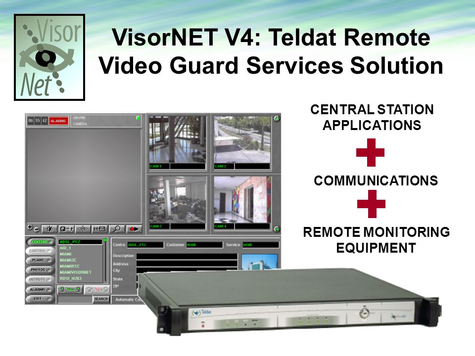 VisorNET V4: Teldat Remote Video Guard Services Solution CENTRAL STATION APPLICATIONS COMMUNICATIONS REMOTE MONITORING EQUIPMENT