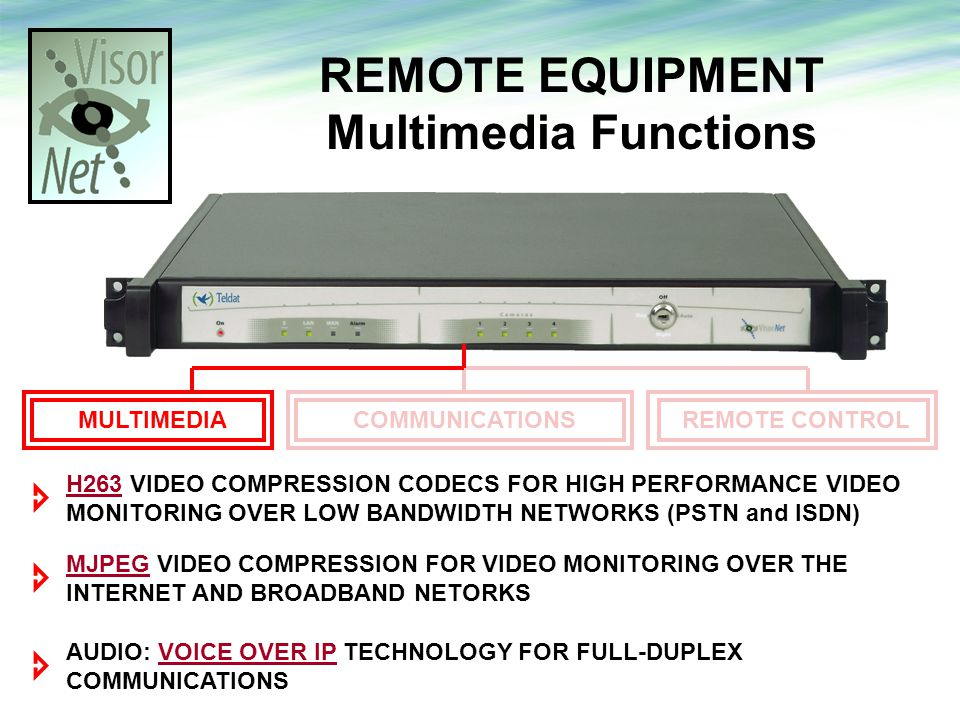 REMOTE EQUIPMENT Multimedia Functions H263 VIDEO COMPRESSION CODECS FOR HIGH PERFORMANCE VIDEO MONITORING OVER LOW BANDWIDTH NETWORKS (PSTN and ISDN) AUDIO: VOICE OVER IP TECHNOLOGY FOR FULL-DUPLEX COMMUNICATIONS MJPEG VIDEO COMPRESSION FOR VIDEO MONITORING OVER THE INTERNET AND BROADBAND NETORKS COMMUNICATIONSREMOTE CONTROL MULTIMEDIA